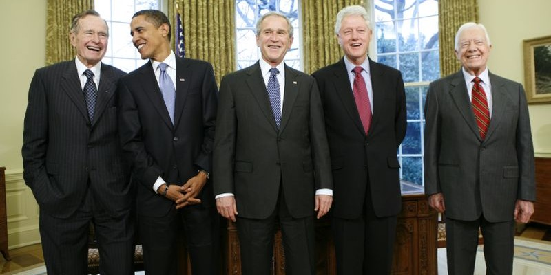 U.S. President George W. Bush meets with former Presidents and President-elect Obama in the Oval Office of the White House in Washington